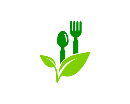 Food Icon Logo Design with fork and spoon on a flower Element Ilustracja