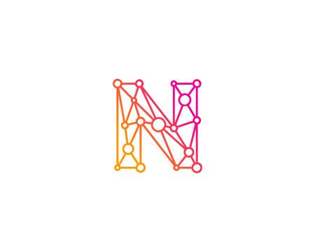 문자 N 아이콘 로고 디자인 요소