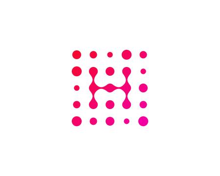 Letter H Dot Icon Logo Design Element