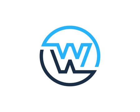 Letter W Circle Line Icon Logo Design Element