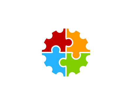 Gear Icon Logo with puzzle Design Element