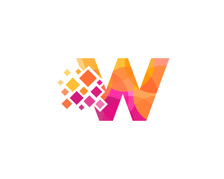 Letter W Pixel Icon Logo Design Element