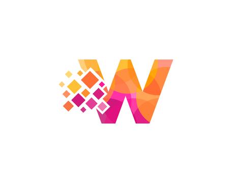 Letter W Pixel Icon Logo Design Element