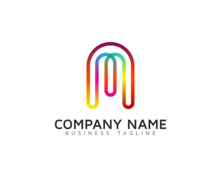 라인 레인보우 컬러 문자 아이콘 로고 디자인 요소