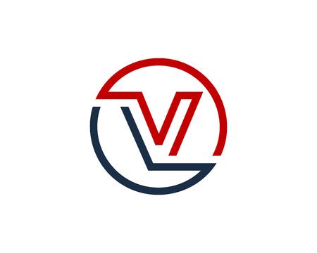 手紙 V サークル ライン アイコン ロゴのデザイン要素
