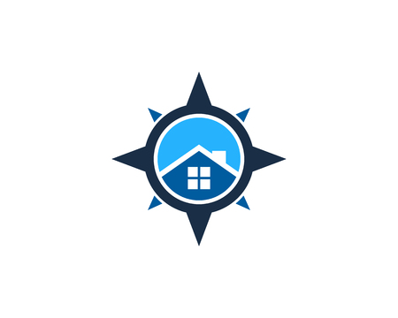 House Compass Icon Logo Design Element