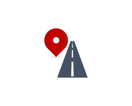 Route Icon Logo Design Element Ilustração