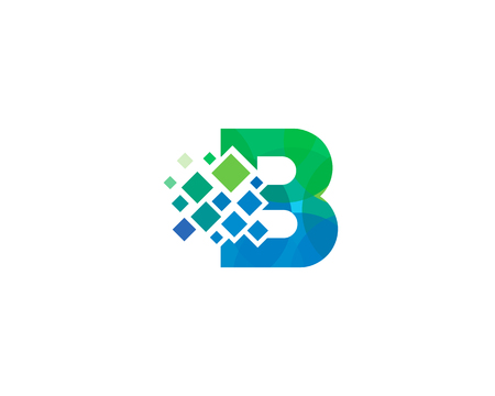 Letter B Pixel Icon Logo Design Element