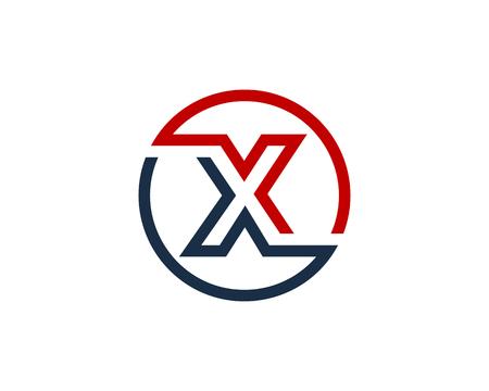 手紙 X サークル ライン アイコン ロゴのデザイン要素  イラスト・ベクター素材