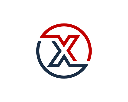 Letter X Circle Line Icon Logo Design Element