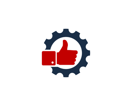 round logo: Gear with a hand approval sign. Icon Logo Design Element Illustration