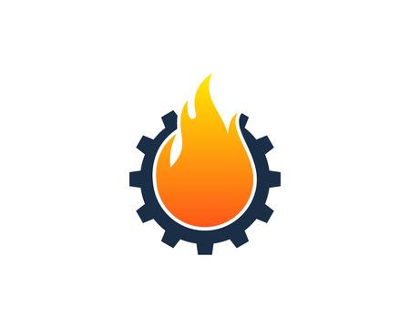 火炎アイコン ロゴのデザイン要素  イラスト・ベクター素材