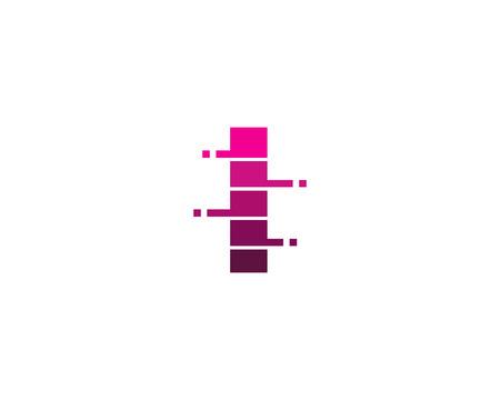 Letter I Pixel Cut Line Icon Logo Design Element