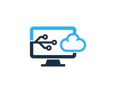 Cloud Computer Icon Logo Design Element