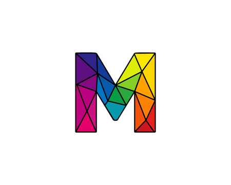 Colorful Letter M Low Poly Icon Logo Design Element