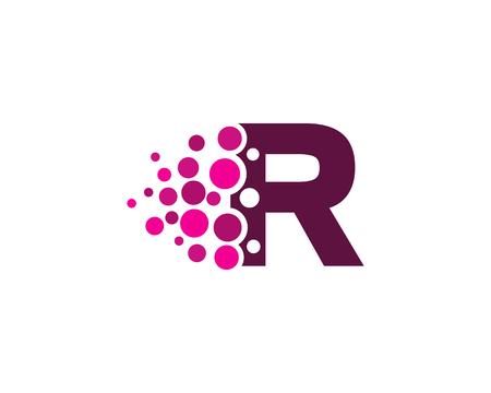 Letter R Pixel Dot Circle Icon Logo Design Element