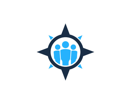 People Compass Icon Logo Design Element