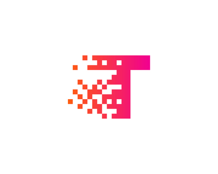 Letter T Digital Pixel Icon Logo Design Element Illustration