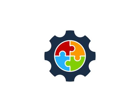 An illustration concept of puzzle design inside a gear icon. Logo Design Element Иллюстрация