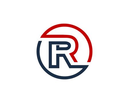 Lettre r cercle icône de conception de logo élément de ligne Banque d'images - 80612128