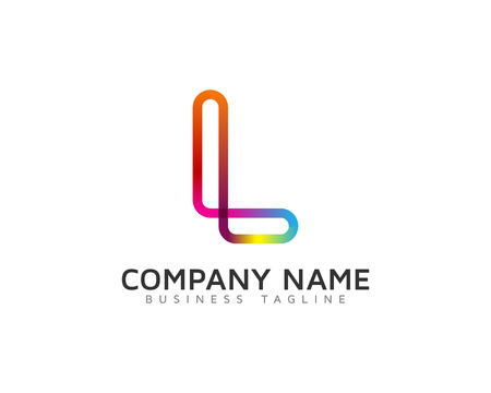 rainbow abstract: Line Rainbow Color Letter Icon Design Element Illustration