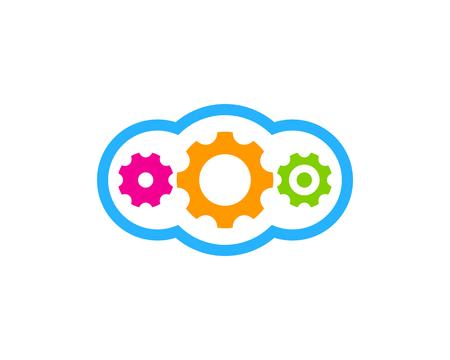 歯車アイコンのロゴのデザイン要素  イラスト・ベクター素材