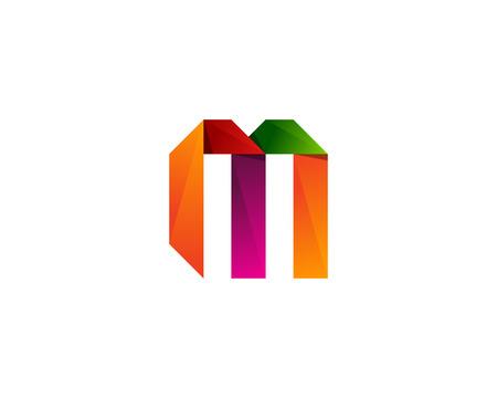Colorful Ribbon Letter M Icon Logo Design Element Illustration