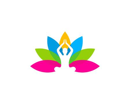 meditation man: Wellness Icon Logo Design Element