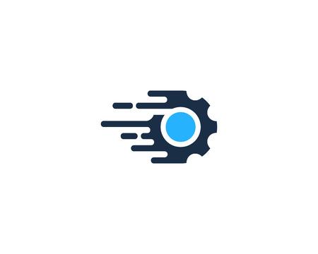 Gear Icon in speed symbol illustration. Logo Design Element
