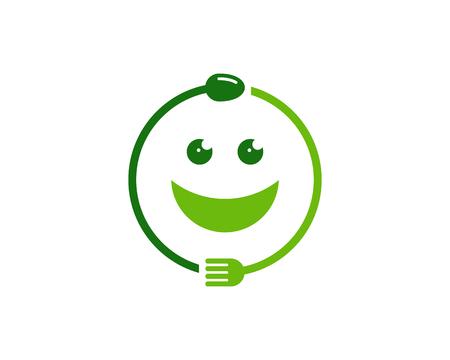Een conceptillustratie van vork en lepelomslag rond in een smileysymbool. Voedingspictogram Logo Design Element