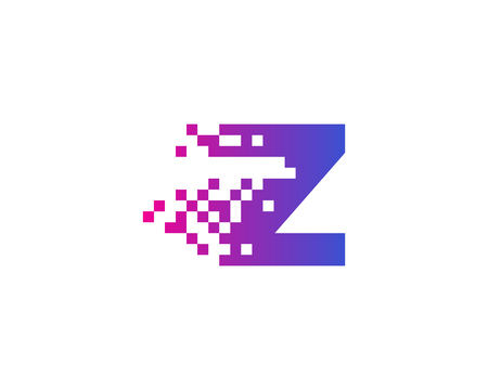 Letter Z Digital Pixel Icon Logo Design Element