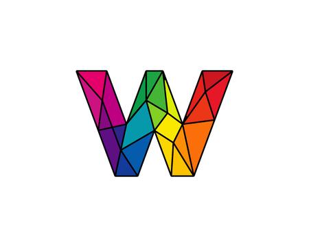 カラフルな手紙 W 低ポリ アイコン ロゴのデザイン要素