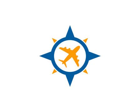 トラベル コンパス アイコン ロゴのデザイン要素  イラスト・ベクター素材