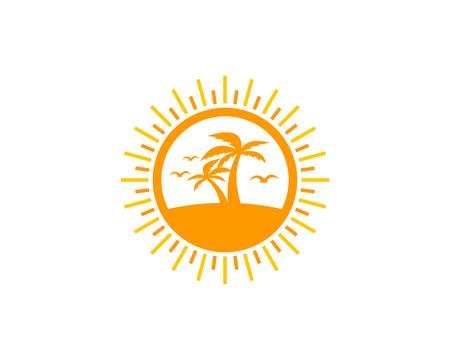 beach sunset: Sun Icon Logo Design Element