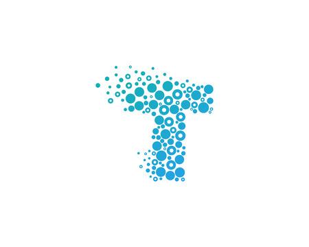 t square: Particle Letter T Icon Logo Design Element Illustration