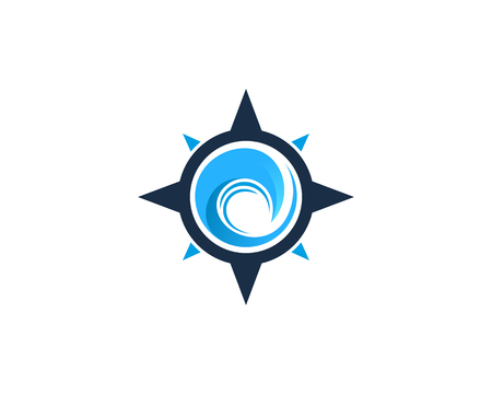 Ocean Compass Icon Logo Design Element