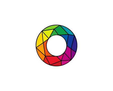 Élément de conception de logo coloré Low O icône Logo Icon