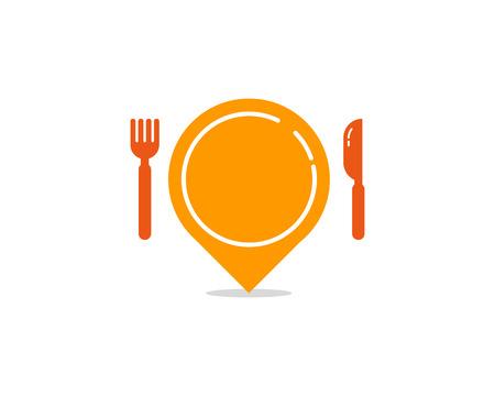 Un'illustrazione del simbolo di localizzatore della mappa con coltello e forchetta. Icona di cibo Logo Design Element Archivio Fotografico - 80612156