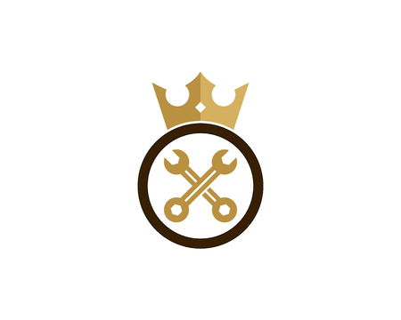Wrench in a circle with crown icon logo design Illustration