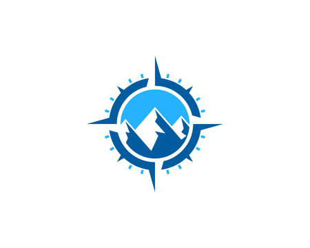 Mountain Compass Icon Logo Design Element