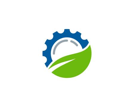 Gear and leaf  Icon Logo Design Element. Illustration