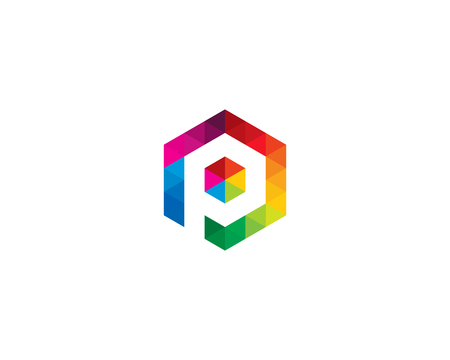 Letter P Icon Logo Design Element 일러스트