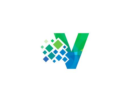 Letter V Pixel Icon Logo Design Element
