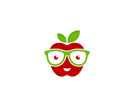 An apple fruit Icon Logo with glasses Design Element Illustration