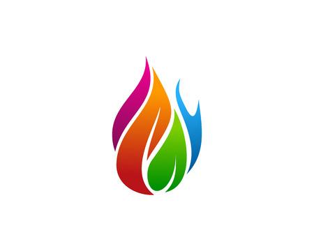 Fire Flame Icon Logo Design Element Ilustração