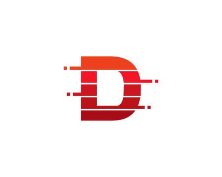 Letter D Pixel Cut Line Icon Logo Design Element
