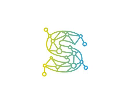 S 字接続ドット ネットワーク アイコン ロゴのデザイン要素  イラスト・ベクター素材