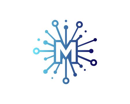 공유 편지 M 아이콘 로고 디자인 요소
