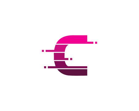 Letter C Pixel Cut Line Icon Logo Design Element