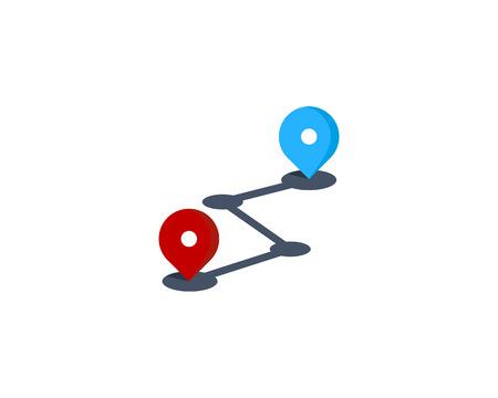 Route Icon Logo Design Element Illusztráció
